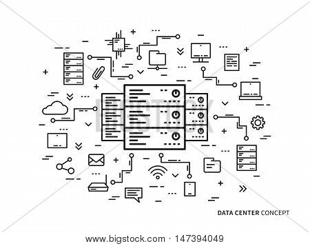 Linear data center server park hosting vector illustration. Data center network equipment hosting storage database technology creative concept. Data center network infrastructure graphic design.