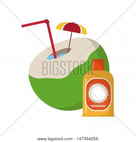 flat design coconut cocktail and sun block icon vector illustration
