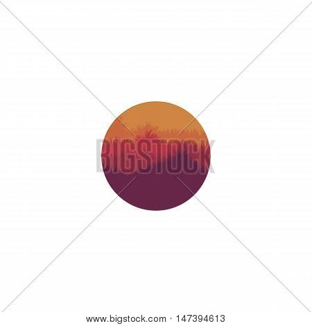Isolated abstract round shape mountain with trees logo. Sunset, sunrise image. Natural environment silhouette logotype. Misty landscape icon. Twilight vector illustration