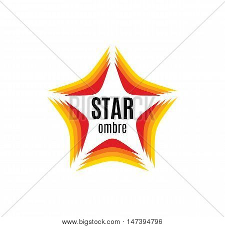 Isolated abstract orange color star contour logo on the white background. Rating and quality decorative element. Celebrities sign. Famous people symbol. Fame icon. Award image.Vector illustration