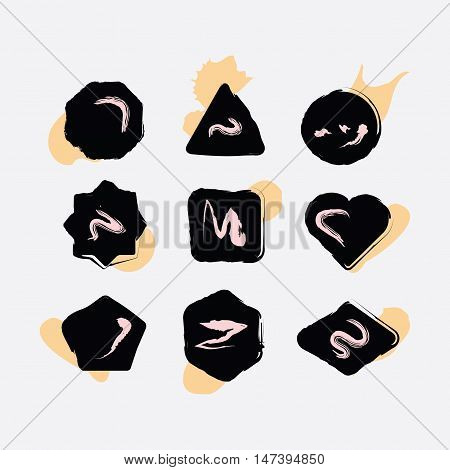 Abstract black inky hand drawn shapes icons set with some textures on white background