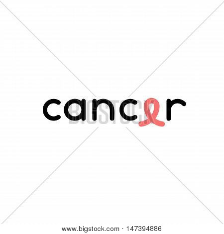 Isolated black color cancer writing with pink ribbon logo on the white background. Against cancer logotype. Stop disease symbol. International breast cancer week. Medical sign. Vector illustration