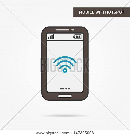 Linear mobile WiFi Hotspot app. Flat WiFi hotspot icon. Mobile WiFi sharing symbol. WiFi hotspot graphic design banner. Digital WiFI hotspot app icon. Vector payment technology sign illustration.