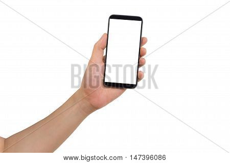 Left hand holding white blank on screen cell phone and isolated white background.