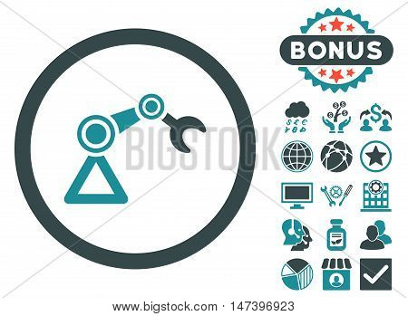 Artificial Manipulator icon with bonus elements. Vector illustration style is flat iconic bicolor symbols, soft blue colors, white background.