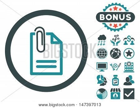 Attach Document icon with bonus pictures. Vector illustration style is flat iconic bicolor symbols, soft blue colors, white background.