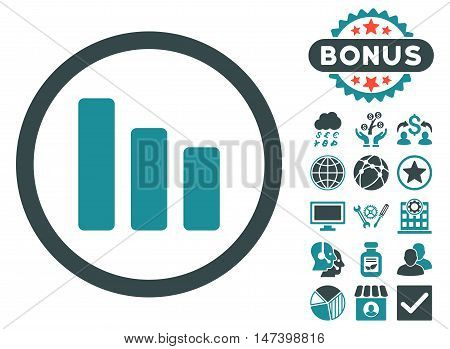Bar Chart Decrease icon with bonus elements. Vector illustration style is flat iconic bicolor symbols, soft blue colors, white background.