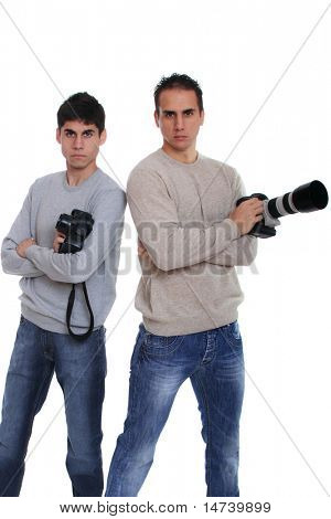 Portrait of male photographers with camera isolated on white background