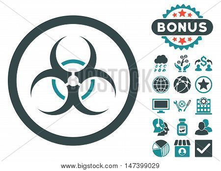 Bio Hazard icon with bonus pictures. Vector illustration style is flat iconic bicolor symbols, soft blue colors, white background.