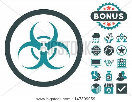 Biohazard Symbol icon with bonus pictogram. Vector illustration style is flat iconic bicolor symbols, soft blue colors, white background.