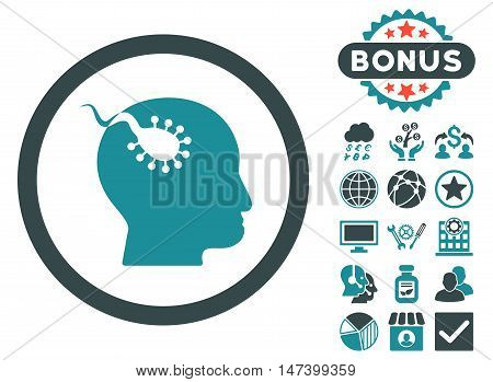 Brain Parasite icon with bonus pictogram. Vector illustration style is flat iconic bicolor symbols, soft blue colors, white background.