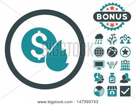 Burn Money icon with bonus pictogram. Vector illustration style is flat iconic bicolor symbols, soft blue colors, white background.