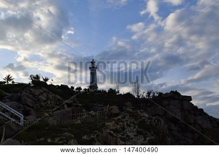 silhouette Dai Lanh lighthouse in Phu Yen vietnam. this is the easternmost of vietnam poster