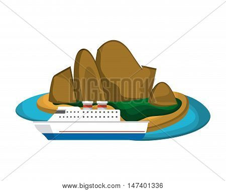 flat design tropical island and boat or ship  icon vector illustration