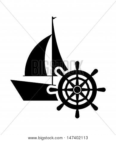 flat design sail boat and rudder  icon vector illustration