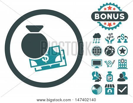 Cash Money icon with bonus symbols. Vector illustration style is flat iconic bicolor symbols, soft blue colors, white background.