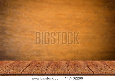 Empty wooden deck table with wooden wall - can be used for display or montage your products