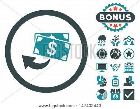 Cashback icon with bonus pictogram. Vector illustration style is flat iconic bicolor symbols, soft blue colors, white background.