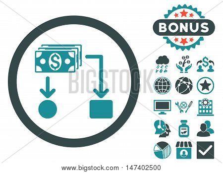 Cashflow icon with bonus pictogram. Vector illustration style is flat iconic bicolor symbols, soft blue colors, white background.