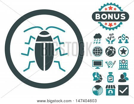 Cockroach icon with bonus pictures. Vector illustration style is flat iconic bicolor symbols, soft blue colors, white background. poster