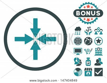 Collide Arrows icon with bonus elements. Vector illustration style is flat iconic bicolor symbols, soft blue colors, white background.