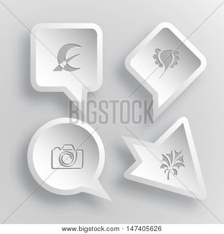 4 images: monetary sign, bird, camera, plant. Abstract set. Paper stickers. Vector illustration icons.