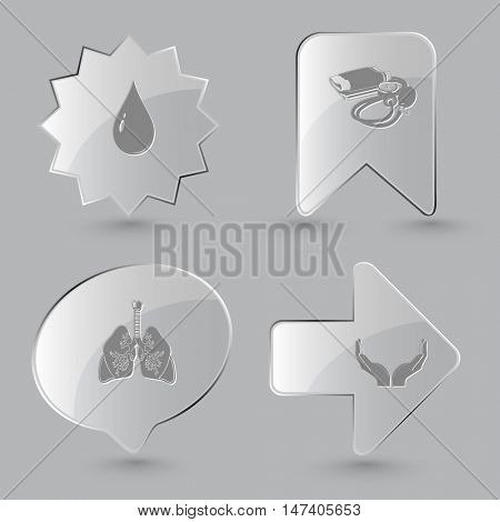 4 images: drop, blood pressure, lungs, human hands. Medical set. Glass buttons on gray background. Vector icons.