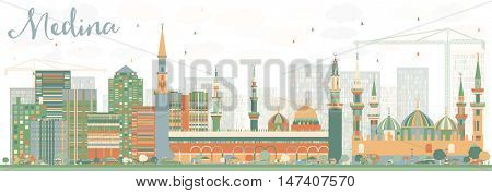 Abstract Medina Skyline with Color Buildings. Business Travel and Tourism Concept with Historic Buildings. Image for Presentation Banner Placard and Web Site.