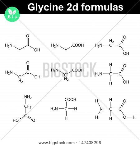 Glycine 2d chemical formulas drawn in different styles vector molecular structure eps 8