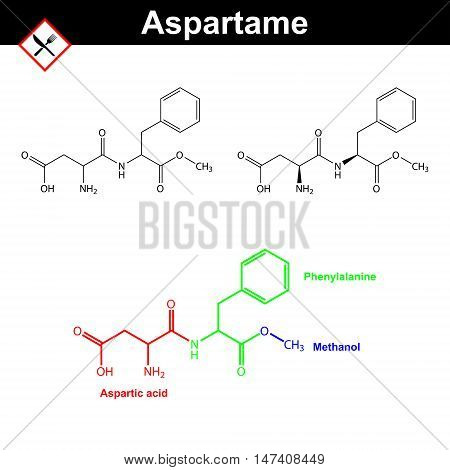 Aspartame - artificial sweetener chemical formulas E951 food additive 2d vector illustration on white background eps 8