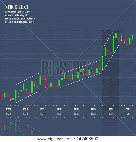 Stock market graph of growth trend price increase concept 2d vector candlestick chart on dark background eps 10