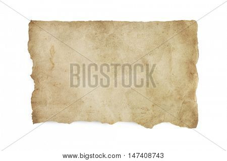Torn old stained paper with clipping path.  isolated on white with soft shadow.