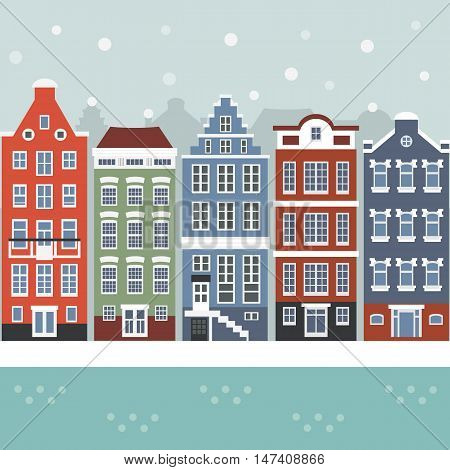 Amsterdam winter city scene. Netherlands. Facades of traditional colorful Dutch houses in flat style. Vector illustration. Tourism, sightseeing, architecture concept. Website, game design. Front view