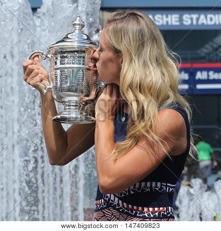 NEW YORK - SEPTEMBER 11, 2016:Two times Grand Slam champion Angelique Kerber of Germany posing with US Open trophy after her victory at US Open 2016 at Billie Jean King National Tennis Center