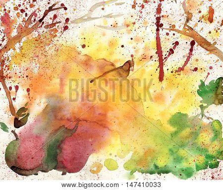 Autumn watercolor background - in the autumn rainy blues mixed harvest season