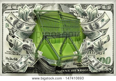 Shopping Cart With Money 3D Illustration