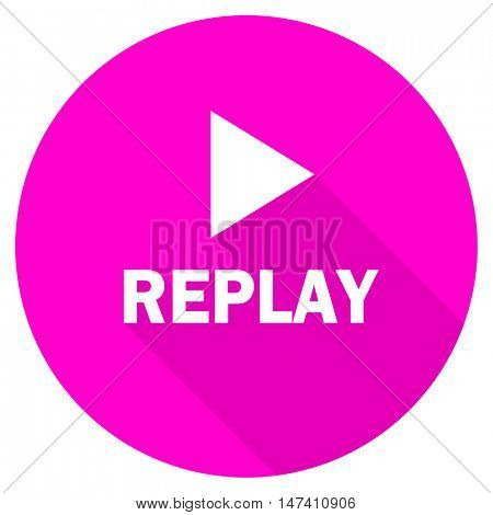 replay flat pink icon