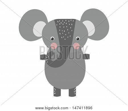 Cute little african elephant isolated on white. Elephant baby animal african zoo vector illustration. Nature mammal, trunk wildlife safari big african elephant. Large strong zoo animal character.