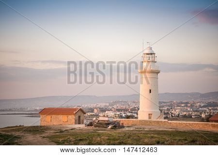 Lighthouse In Historic Paphos, Cyprus