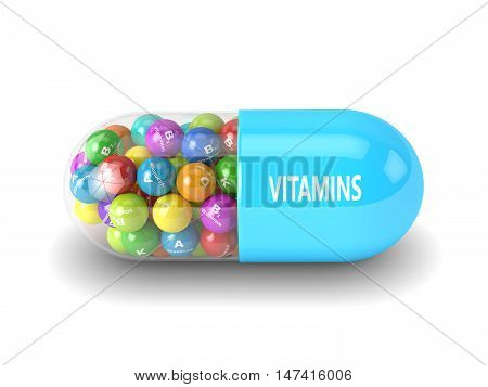 3D Rendering Of Vitamin Pill With Granules