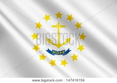 Flag of Rhode Island officially the State of Rhode Island and Providence Plantations is a state in the New England region of the United States. 3D illustration poster