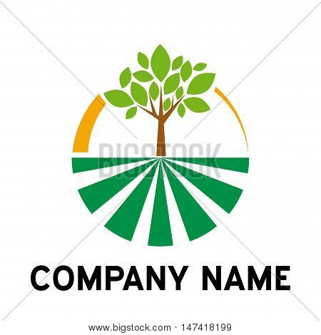 Vector sign Organic farming Greengrocer , isolated on white