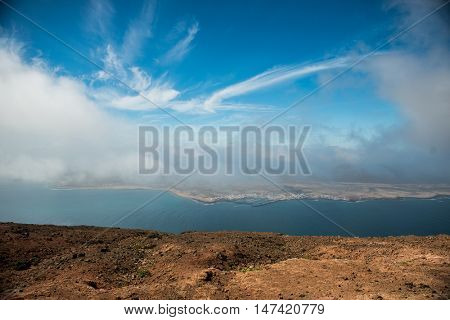 view on the neighboring isle from Lanzarote, Canary Isles, Spain
