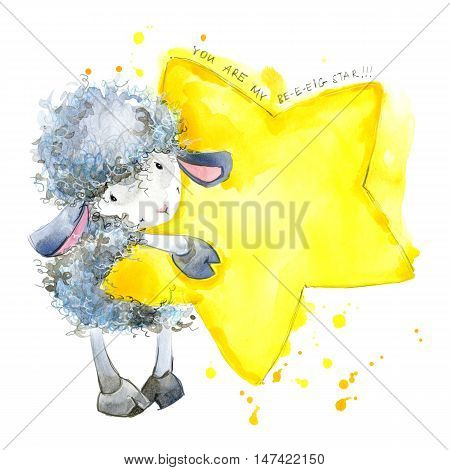 Cute sheep. watercolor illustration. Sheep T-shirt design. Sheep and Stars Background