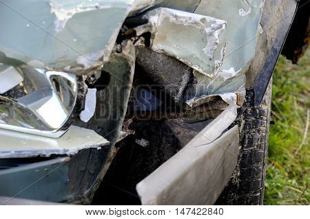 Part of a crashed car wreck. Things stolen car
