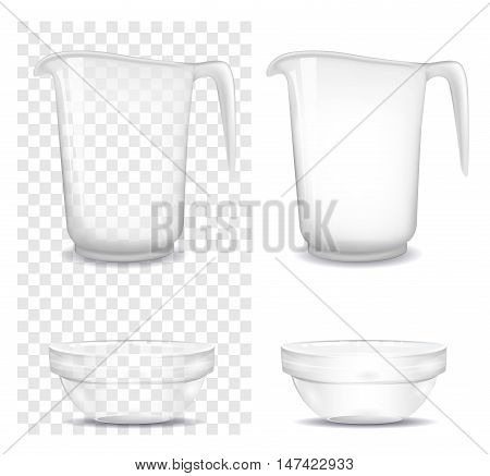 Transparent glass and jug. Vector illustration. Mock up