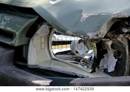 a crashed car wreck. Things stolen car