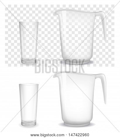 Transparent glass and jug. Vector 3d  illustration