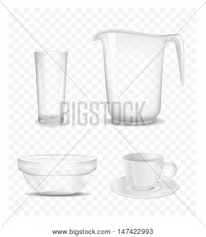 Transparent salad bowl jug cup and glass. Vector illustration