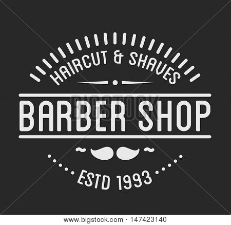 Vintage barber shop logo and beauty spa salon badge. Vector element. Isolated icons on dark background